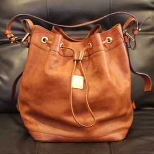 Large Rare Burnt Orange MCM Cross Body Bucket Bag